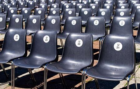 Row of seats in an outdoor cinema. Foto de archivo