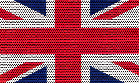A British flag made in colored metal grate. National flag of United Kingdom