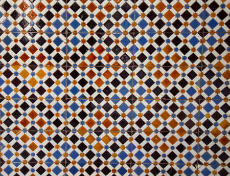 Azulejo background. Azulejo is a typical ornament of Portuguese and Spanish architecture. Azulejo is a ceramic tile not very thick with a glazed and decorated surface. Standard-Bild