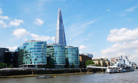 The Shard of London near the river Thames.