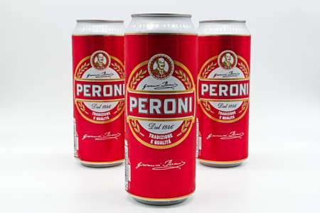 Can of Peroni Beer isolated on white background