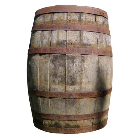 cask: Old wooden barrel cask for whisky or beer or wine Stock Photo