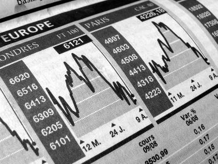 Stock market chart on a newspaper Stock Photo - 3134406