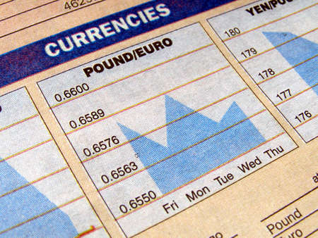 Currency exchange chart on a newspaper photo