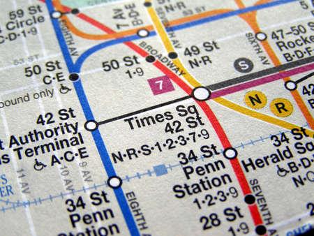 times square new york: Subway map of the New York underground metro tube network