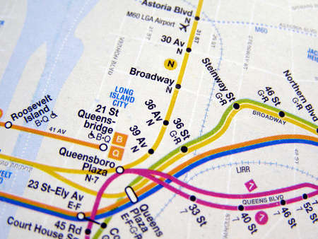 Subway map of the New York underground metro tube network