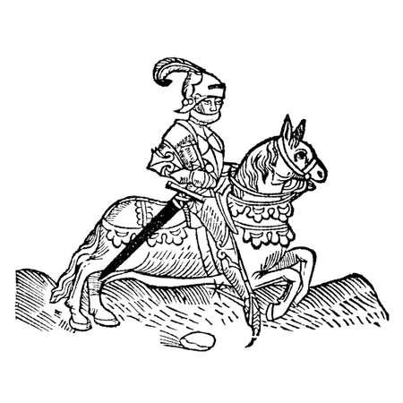 canterbury: Le chevalier de The Canterbury Tales par Geoffrey Chaucer - Gravure sur bois de la Caxton's Edition de 1485