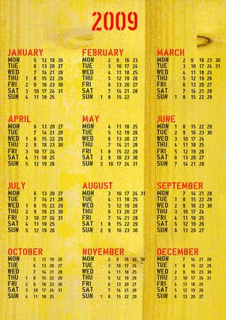 almanac: Calendar 2009 with wood background Stock Photo