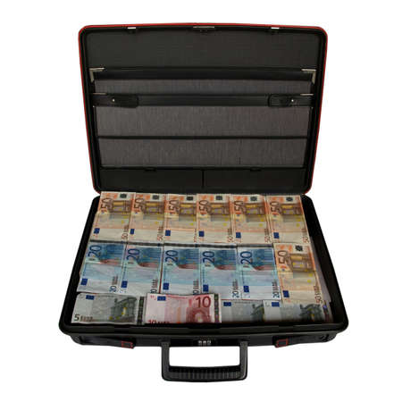 Suitcase with euro banknotes money photo