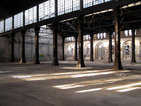 Abandoned factory industrial archeology architecture Stock Photo