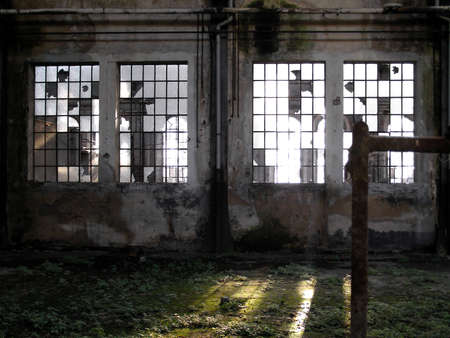 abandoned factory: Abandoned factory industrial archeology architecture Stock Photo
