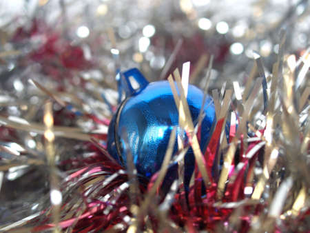 Tinsel and baubles for Christmas tree decoration photo