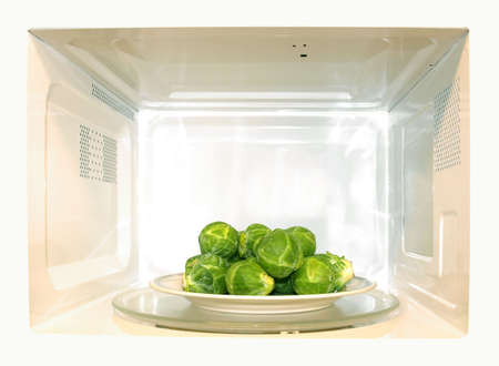 brussel: Microwave oven with Brussel sprouts