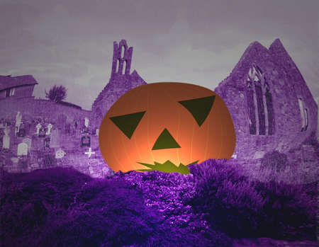 churchyard: Halloween pumpkin in a churchyard on a rainy day, with warped gothic ruins, tomb stones, crosses