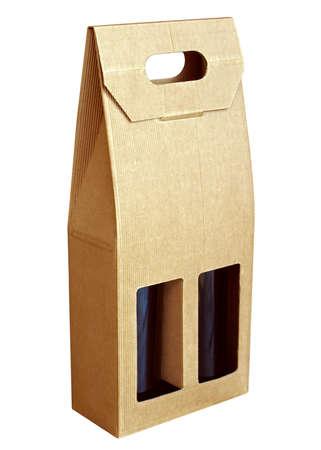alcohol cardboard: Corrugated cardboard gift wine bottles box Stock Photo