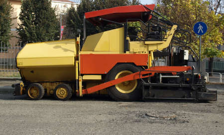 asphalting: Asphalt machine for road works Stock Photo