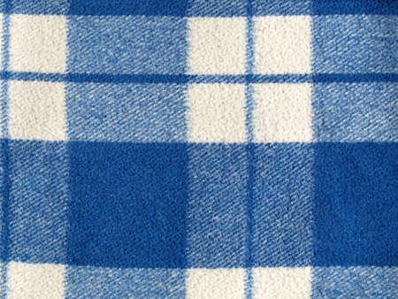 bedcover: Blue tartan wool fabric
