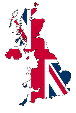 UK map with Union Jack flag photo