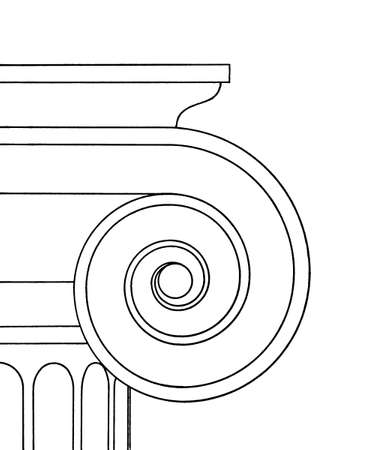 romanesque: Line drawing of ionic capital