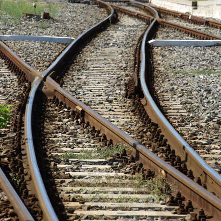 Railway railroad track with junction photo