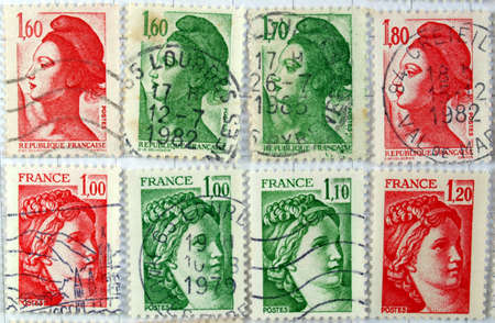 Range of French postage stamps Stock Photo - 3978609