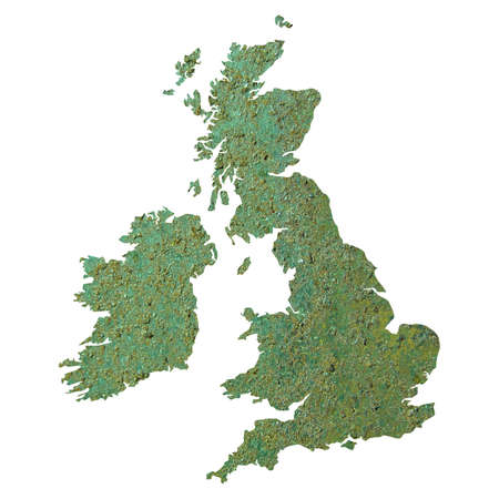 UK and Ireland map with rusted steel background