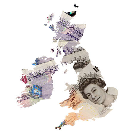 UK and Ireland map with money background