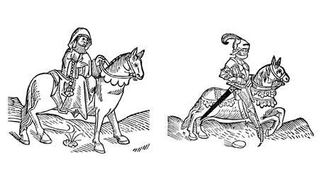 canterbury: Le Prieure et le chevalier de The Canterbury Tales par Geoffrey Chaucer - Gravure sur bois de la Caxton's Edition de 1485 Banque d'images
