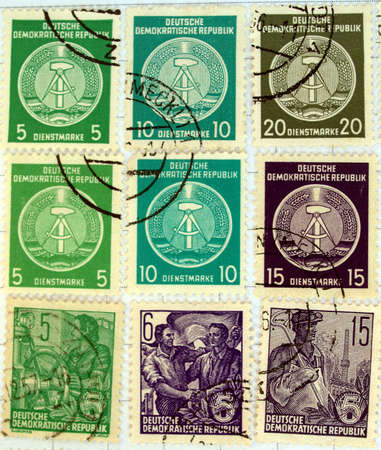 Range of German Democratic Republic (DDR) postage stamps Stock Photo - 4075337