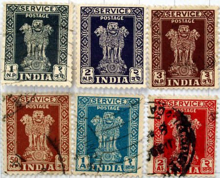 Range of Indian postage stamps Stock Photo - 4075338