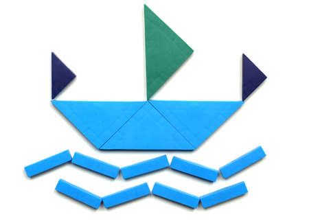 color tangram: Tangram game toy with ship at sea