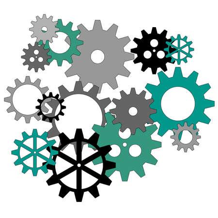 Clockworks gear parts in an industrial machine photo