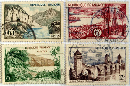 Range of French postage stamps Stock Photo - 4160554