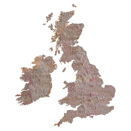 rusted: UK and Ireland map with rusted steel background