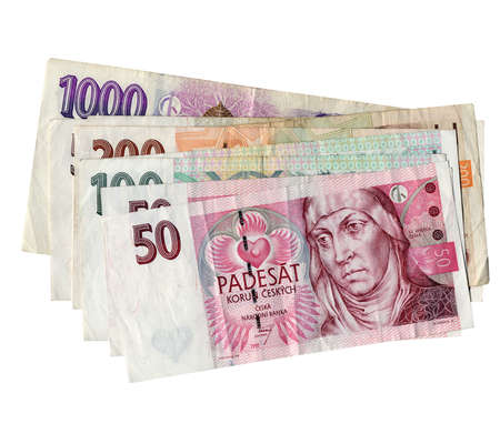 korun: Czech Korun money banknotes over white background