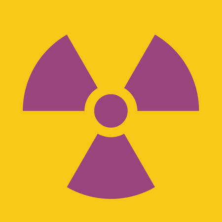 Caution Radiation Area warning sign, purple on yellow Stock Photo - 4187395