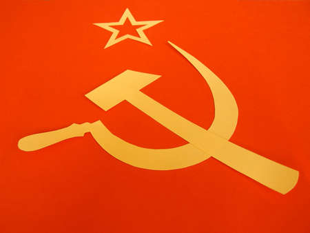 hammer and sickle: Communist CCCP Flag with hammer and sickle, symbols of communism, yellow over red
