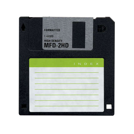 Floppy Disk magnetic computer data storage support isolated over white photo