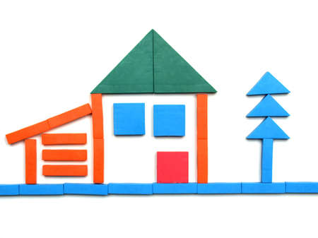 detached: Tangram game toy with detached house Stock Photo