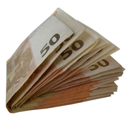 european union currency: Euro Banco observa dinero (moneda de la Uni�n Europea)