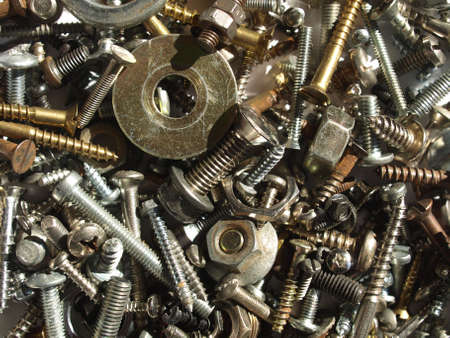Industrial steel hardware bolts, nuts, screws Stock Photo - 4306088