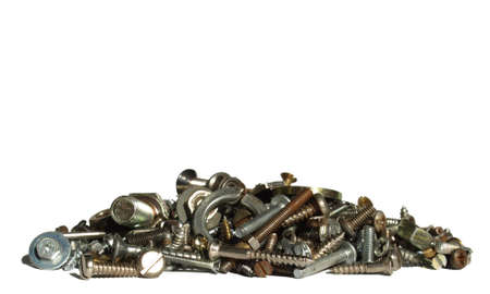Industrial steel hardware bolts, nuts, screws isolated on white with copyspace Stock Photo - 4306013