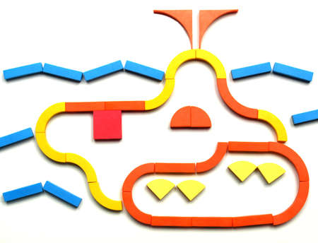 color tangram: Tangram game toy with submarine