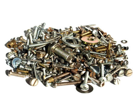 Industrial steel hardware bolts, nuts, screws isolated on white with copyspace Stock Photo - 4330193