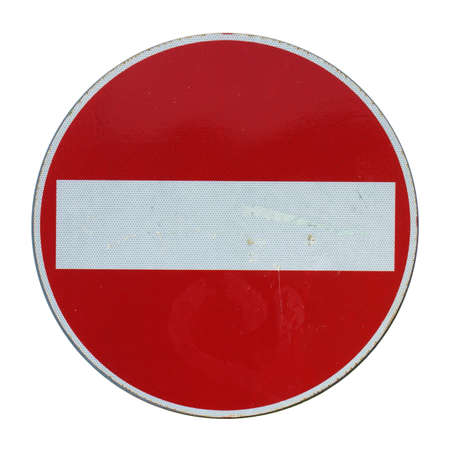 no signal: No entry traffic sign isolated on white