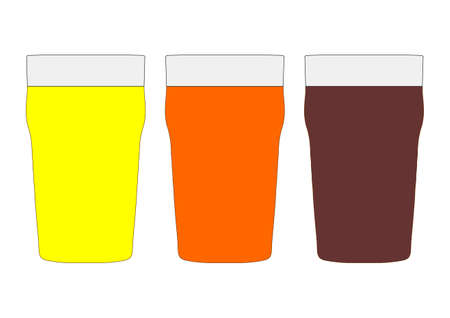 stout: Three pints of British beer including lager, bitter and stout Stock Photo