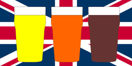 bitter: Three pints of British beer including lager, bitter and stout over Union Jack