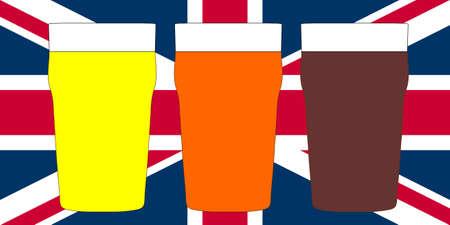 stout: Tres pintas de cerveza brit�nico incluyendo cerveza, amargo y fuerte en Union Jack Foto de archivo