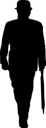 british man: Silhouette of a traditional British man
