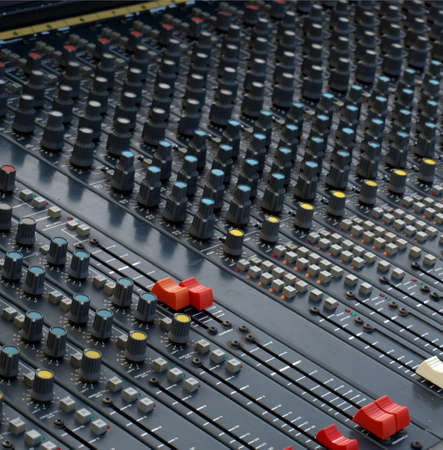 analogue: Detail of a soundboard mixer electronic device